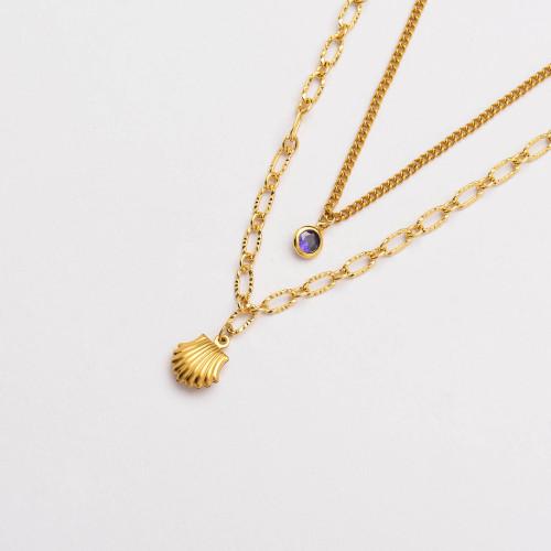 Colliers de Acero Inoxidable para Mujer al por Mayor-SSNEG142-33794