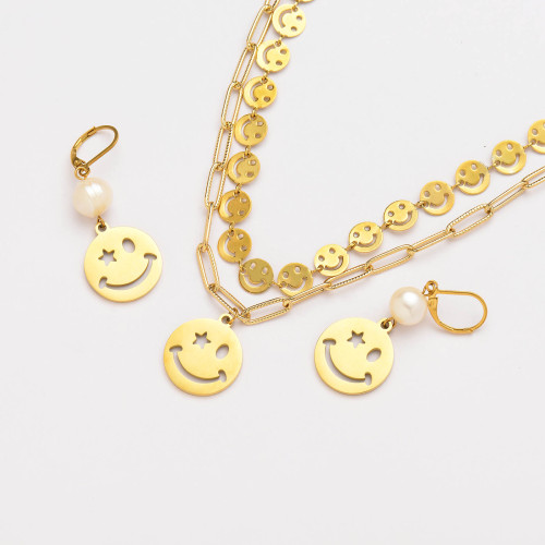 stainless steel smile pendant with pearl necklace earrings set-SSCSG142-33716