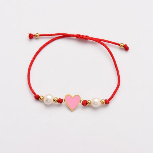 Pulseras Hechas A Mano De Perlas Corazón De Hilo Rojo -SSBTG142-33814