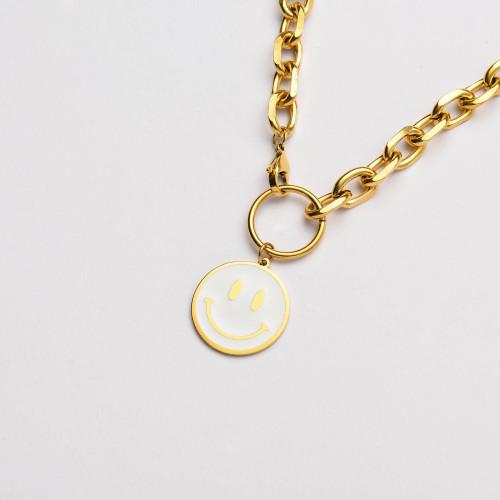 عقد بسلسلة سميكة مطلية بالذهب 18 قيراط على شكل ابتسامة بيضاء- SSNEG142-33641