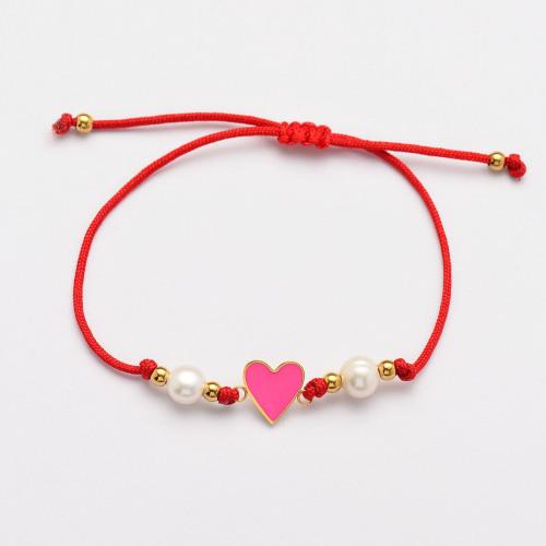 Pulseras Hechas A Mano De Perlas Corazón De Hilo Rojo -SSBTG142-33815