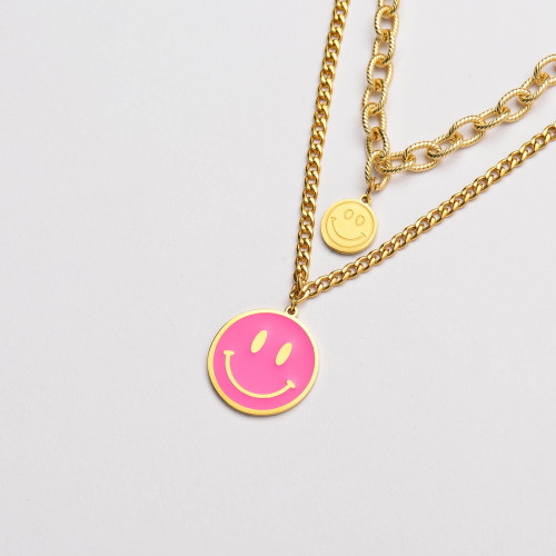 قلادة من الفولاذ المقاوم للصدأ بطبقة ابتسامة من الذهب- SSNEG142-33646