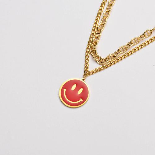 الفولاذ المقاوم للصدأ المينا الحمراء ابتسامة قلادة سلسلة مزدوجة قلادة- SSNEG142-33645