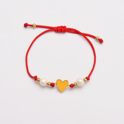 Pulseras Hechas A Mano De Perlas Corazón De Hilo Rojo -SSBTG142-33812