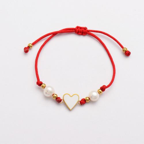 Pulseras Hechas A Mano De Perlas Corazón De Hilo Rojo -SSBTG142-33818