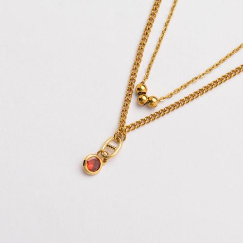 CZ Zircon 18K Gold Plated Multi Layered Necklace -SSNEG142-33804
