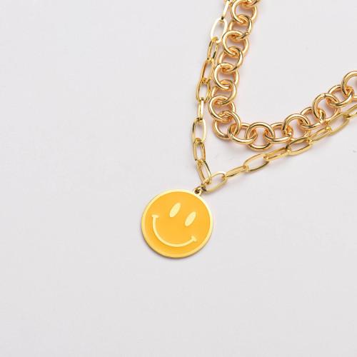 قلادة ابتسامة ذهبية من الفولاذ المقاوم للصدأ سلسلة مكتنزة بطبقة سلسلة- SSNEG142-33647