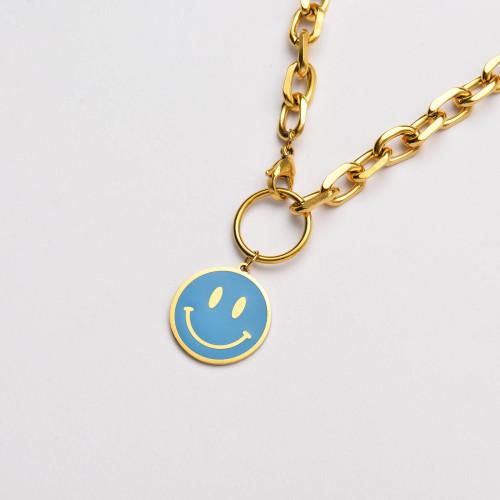 عقد بسلسلة سميكة مطلية بالذهب 18 قيراط على شكل ابتسامة زرقاء- SSNEG142-33640