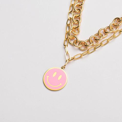 الفولاذ المقاوم للصدأ المينا الوردي قلادة ابتسامة قلادة مزدوجة سلسلة بيان- SSNEG142-33643