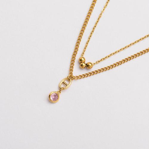 CZ Zircon 18K Gold Plated Multi Layered Necklace -SSNEG142-33805