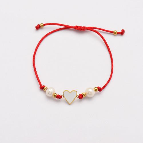 Pulseras Hechas A Mano De Perlas Corazón De Hilo Rojo -SSBTG142-33816