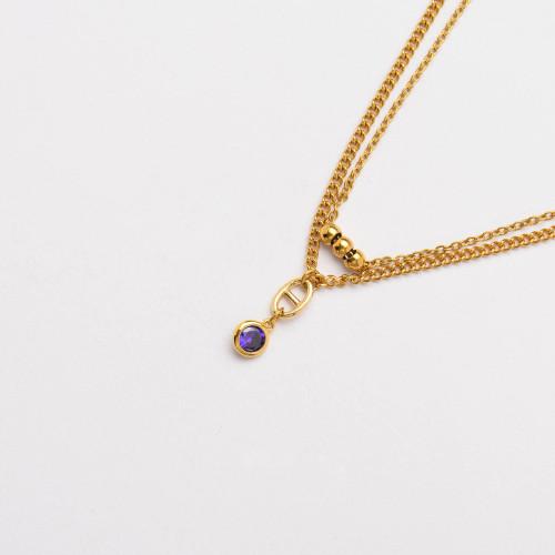 CZ Zircon 18K Gold Plated Multi Layered Necklace -SSNEG142-33808