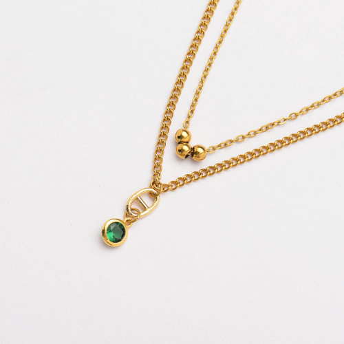 CZ Zircon 18K Gold Plated Multi Layered Necklace -SSNEG142-33806