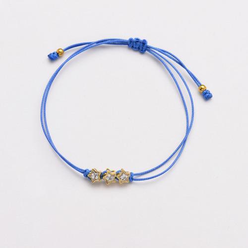Pulseras de cordón azul hechas a mano con estrella de circonita CZ para mujer -SSBTG142-33782