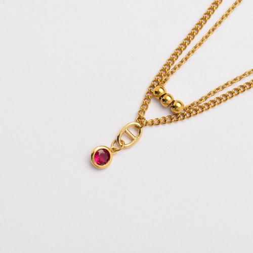CZ Zircon 18K Gold Plated Multi Layered Necklace -SSNEG142-33809