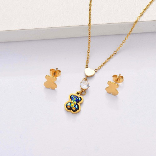 18K Gold Plated Bear Jewelry Sets for Women -SSCSG143-33864