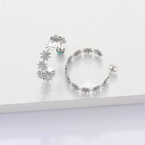 Stainless Steel Cuff Flower Hoop Earrings -SSEGG143-33894