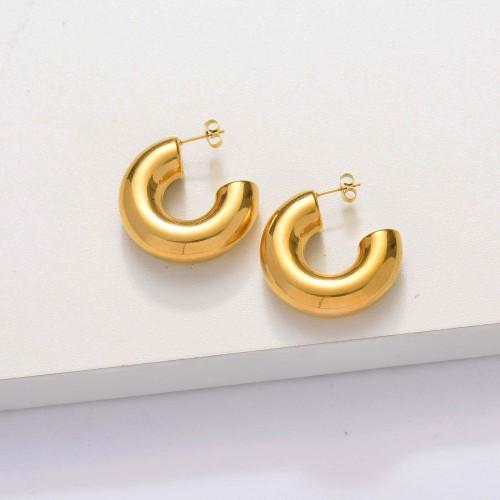 18k Gold Plated Tube Hoop Earrings -SSEGG143-33849
