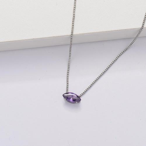 Collar Tiny Circón Cúbico Transparente -SSNEG143-33854