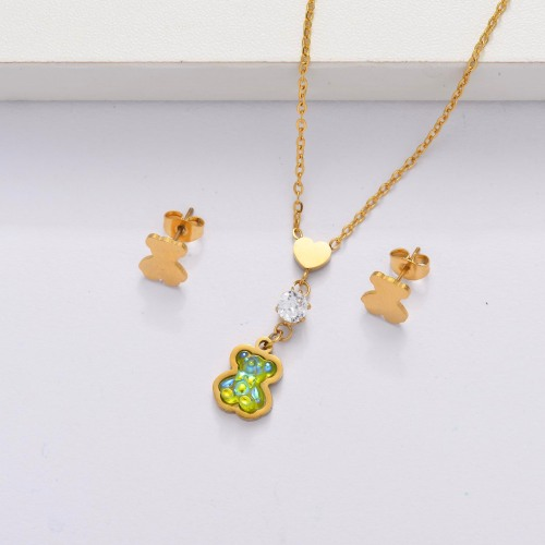 18K Gold Plated Bear Jewelry Sets for Women -SSCSG143-33865