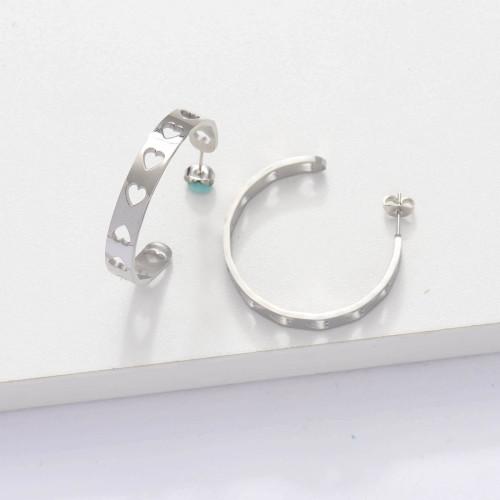Stainless Steel Cuff Heart Hoop Earrings -SSEGG143-33893