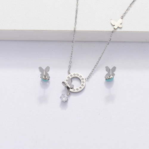 Stainless Steel  CZ Zircon Butterfly Necklace Jewelry Sets for Women -SSCSG143-33881