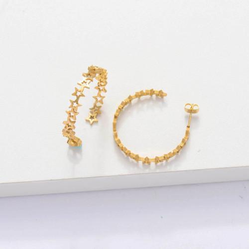 18k Gold Plated Cuff Star Hoop Earrings -SSEGG143-33896