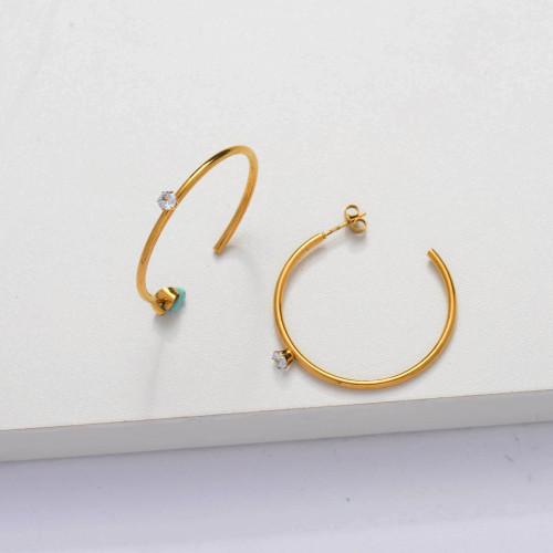 18k Gold Plated CZ Zircon Hoop Earrings -SSEGG143-33885