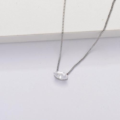 Collier minuscule transparent avec zircon cubique -SSNEG143-33852