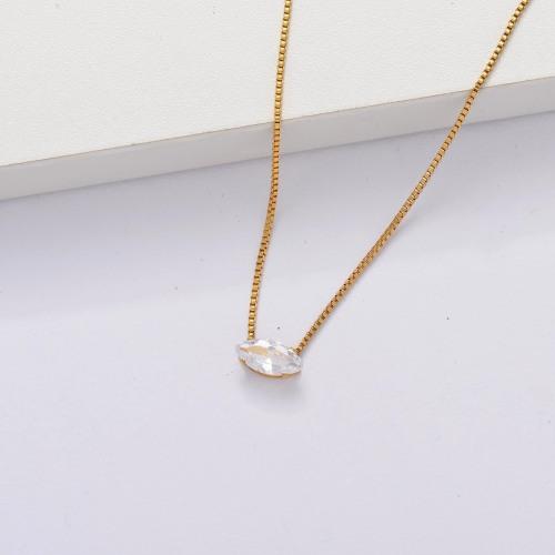 Collar Delicado Transparente De Circonitas Cúbicas Chapado En Oro 18k -SSNEG143-33863