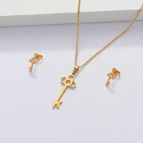18k Gold Plated Key Jewelry Sets for Women -SSCSG143-33879