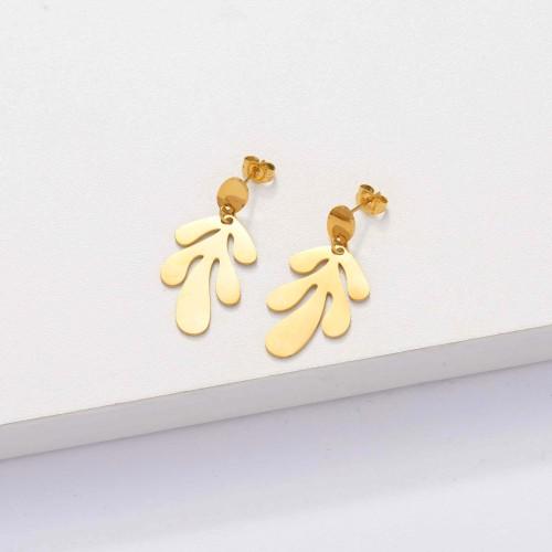 18k Gold Plated Leaf Drop Earrings -SSEGG143-33903