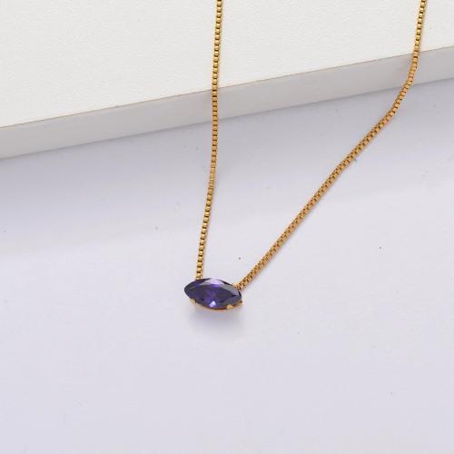 Collar Delicado Transparente De Circonitas Cúbicas Chapado En Oro 18k -SSNEG143-33862
