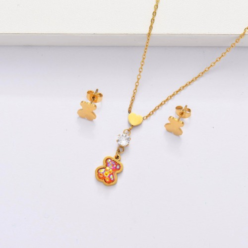 18K Gold Plated Bear Jewelry Sets for Women -SSCSG143-33868