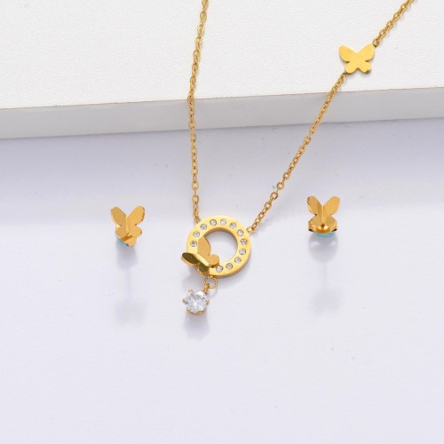 18k Gold Plated  CZ Zircon Butterfly Necklace Jewelry Sets for Women -SSCSG143-33880