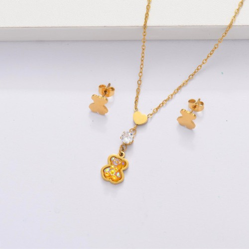 18K Gold Plated Bear Jewelry Sets for Women -SSCSG143-33871