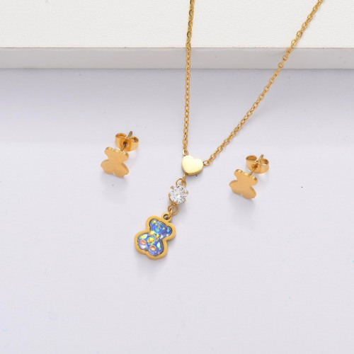 18K Gold Plated Bear Jewelry Sets for Women -SSCSG143-33866