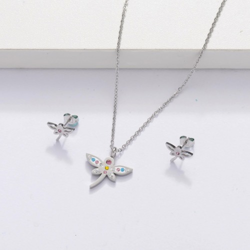 Stainless Steel Crystal Dragonfly Jewelry Sets for Women -SSCSG143-33877