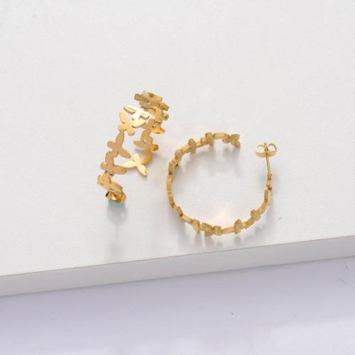18k Gold Plated Cuff Butterfly Hoop Earrings -SSEGG143-33886