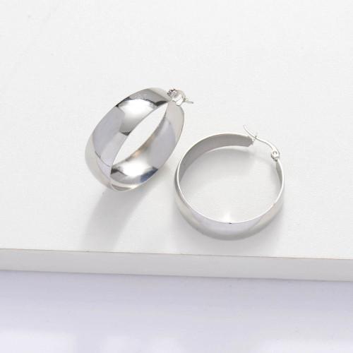 Stainless Steel Wide Hoop Earrings -SSEGG143-33898