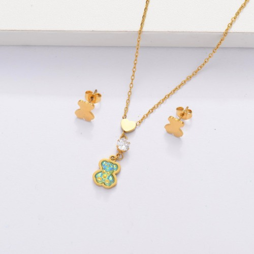 18K Gold Plated Bear Jewelry Sets for Women -SSCSG143-33869