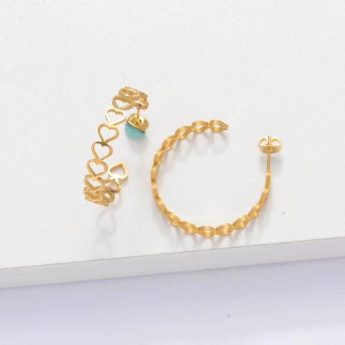 18k Gold Plated Cuff Heart Hoop Earrings -SSEGG143-33889