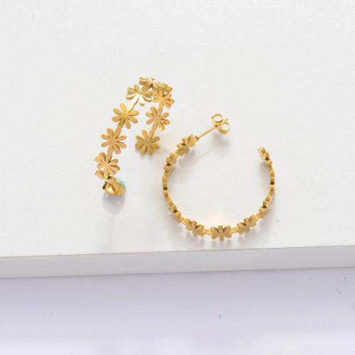 18k Gold Plated Cuff Flower Hoop Earrings -SSEGG143-33888