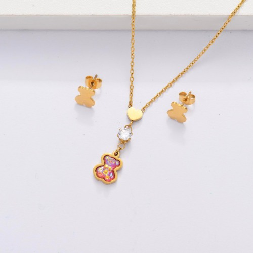 18K Gold Plated Bear Jewelry Sets for Women -SSCSG143-33870
