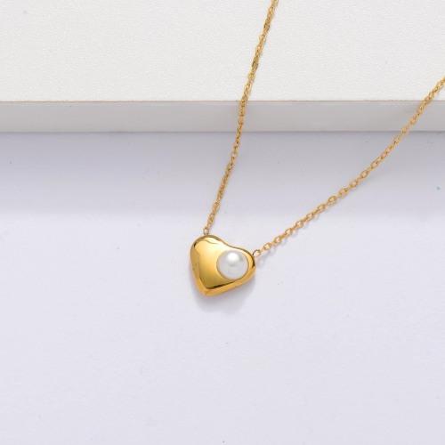 Collar Corazón Chapado en Oro 18k -SSNEG143-33875