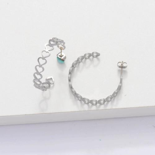 Stainless Steel Cuff Heart Hoop Earrings -SSEGG143-33891
