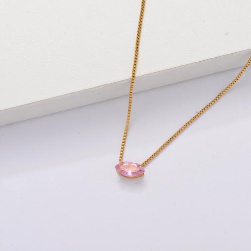Collar Delicado Transparente De Circonitas Cúbicas Chapado En Oro 18k -SSNEG143-33861