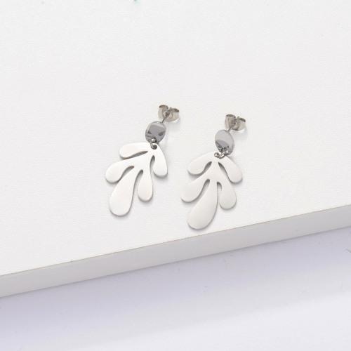Stainless Steel Leaf Drop Earrings -SSEGG143-33904