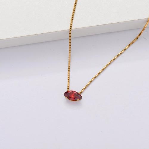 Collar Delicado Transparente De Circonitas Cúbicas Chapado En Oro 18k -SSNEG143-33858