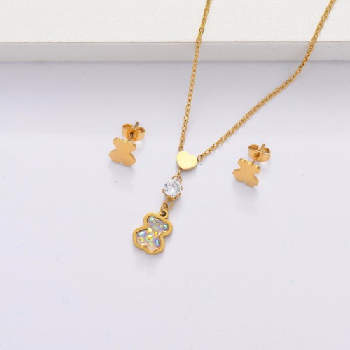 18K Gold Plated Bear Jewelry Sets for Women -SSCSG143-33867